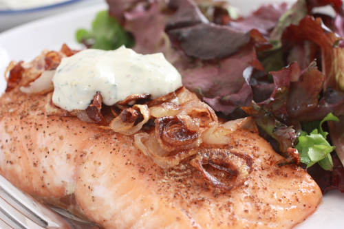 Salmon with Crispy Shallots and Dill Cream