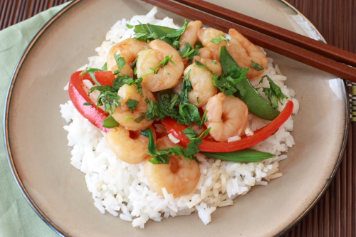 Asian Shrimp with Peppers and Sugar Snap Peas